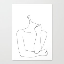 Womans body line drawing illustration - Helen Canvas Print