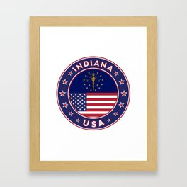 Indiana, Indiana t-shirt, Indiana sticker, circle, Indiana flag, white bg Framed Art Print