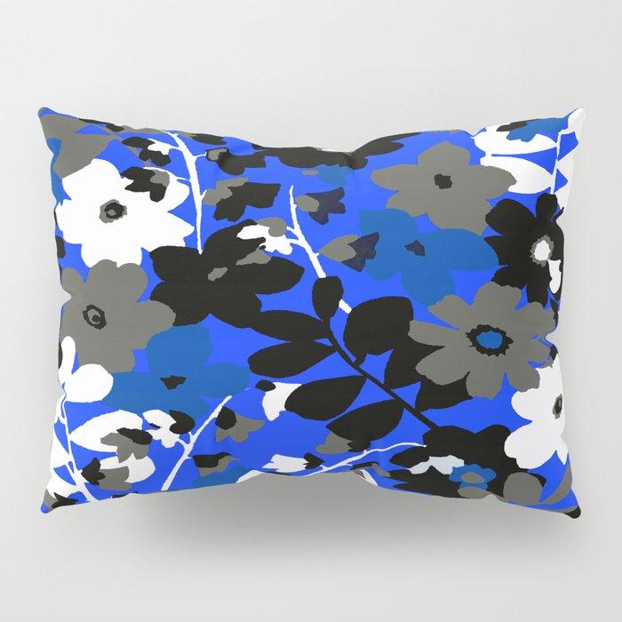 SUNFLOWER TRELLIS BLUE BLACK GRAY AND WHITE TOILE Pillow Sham