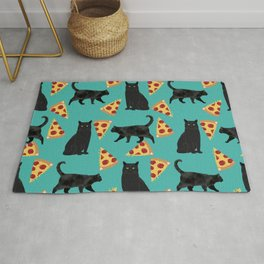 black cat pizza cat lover pet gifts cute cats Rug