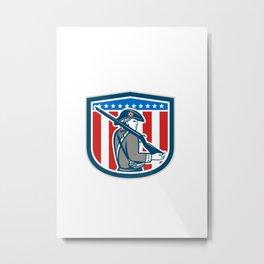 American Patriot Minuteman Holding Musket Rifle Shield Retro Metal Print