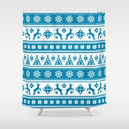 Christmas Holiday Nordic Pattern Cozy Shower Curtain