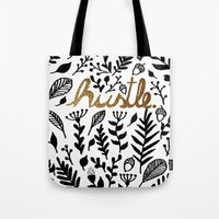 hustle Tote Bags featuring Hustle by wildpink