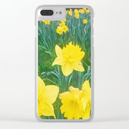 Be happy in a sea of yellow flowers Clear iPhone Case