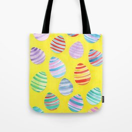 Easter Egg Watercolor Pattern -  Yellow Tote Bag