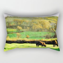 Black Sheep Grazing in Evening Sunshine in Lake District, UK Watercolor Rectangular Pillow