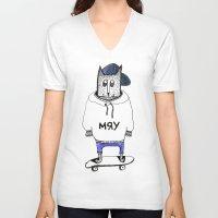 russian V-neck T-shirts featuring Russian cat by KRADA ZHAN ART