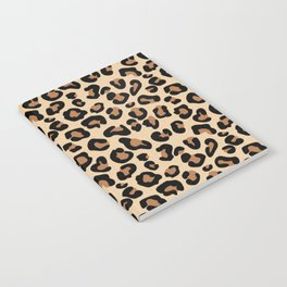 Leopard Print, Black, Brown, Rust and Tan Notebook