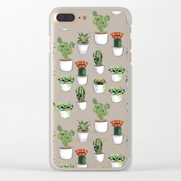 Cacti &  Pugculents Clear iPhone Case