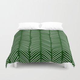 Forest Green Herringbone Duvet Cover