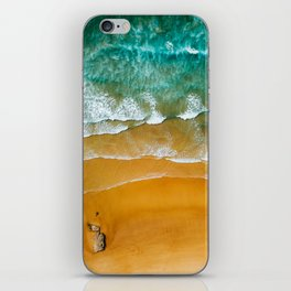 Ocean Waves Crushing On Beach, Drone Photography, Aerial Photo, Ocean Wall Art Print Decor iPhone Skin