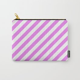 Diagonal Stripes (Violet/White) Carry-All Pouch