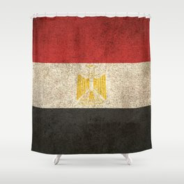 Old and Worn Distressed Vintage Flag of Egypt Shower Curtain