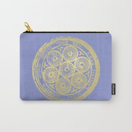 flower power: variations in periwinkle & gold Carry-All Pouch