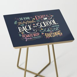 Back to school colorful typography drawing on blackboard with motivational messages, hand lettering Side Table
