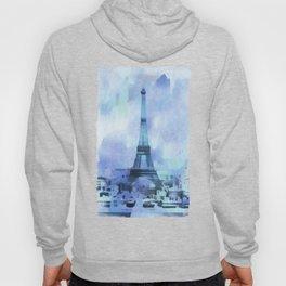 Blue Eifel Tower Paris France abstract painting Hoody