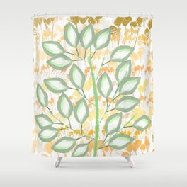 The Calming Tree With Peach And Gold Roses Shower Curtain