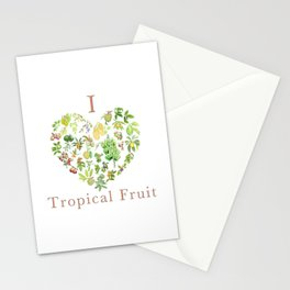 Tropical Fruit Love Heart Stationery Cards
