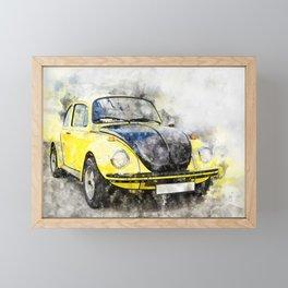 Beetle Yellow-Black Racer Framed Mini Art Print