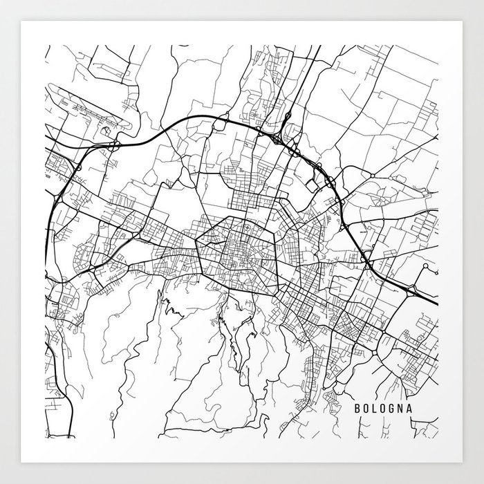 Map Of Italy Black And White.Bologna Map Italy Black And White Art Print By Mainstreetmaps