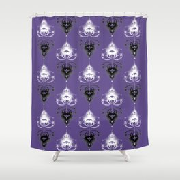 Ornament medallions - Black and white fractals on ultra violet Shower Curtain
