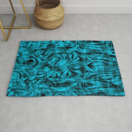 Chaotic spots and scribbles in light blue colors on a dark. Rug