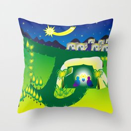 Biblical abstract graphics - birth of Jesus in the grotto and star of Bethleh Throw Pillow