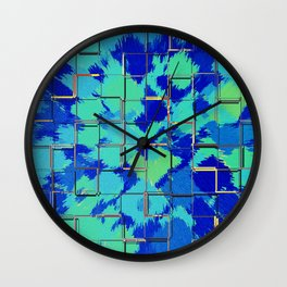 Abstract Squares Blue & Green Wall Clock