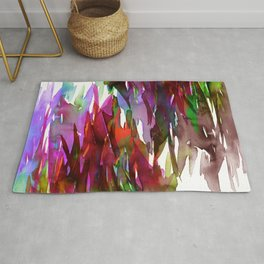 FERVOR 3 Colorful Bold Abstract Autumn Fall Crimson Red Purple Mauve Green Watercolor Painting Art Rug