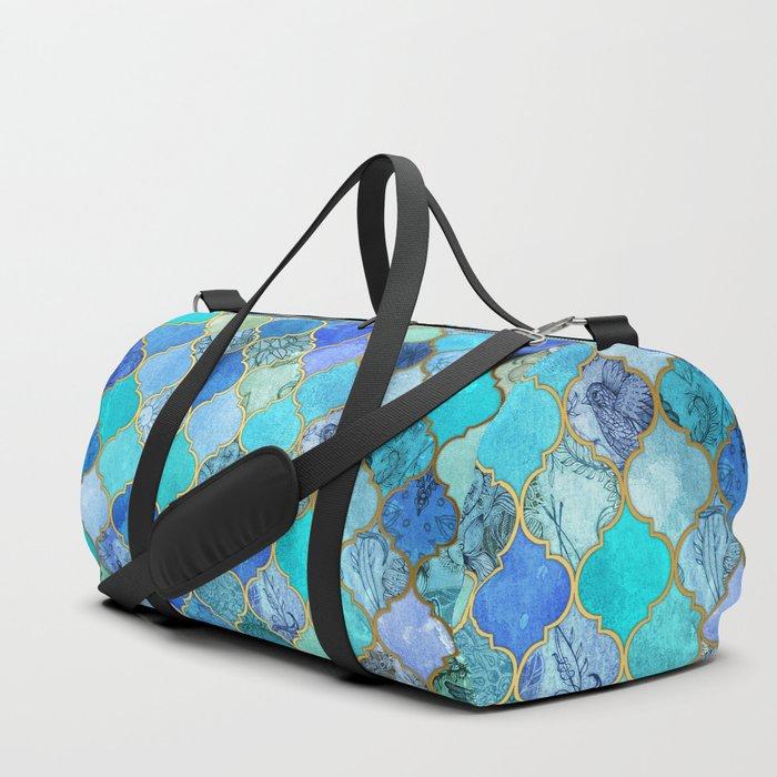 Cobalt Blue, Aqua & Gold Decorative Moroccan Tile Pattern Duffle Bag