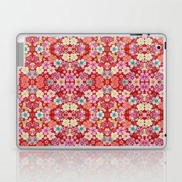 Crimson Floral Chirimen Laptop & iPad Skin