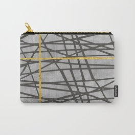 Black abstract black and gold lines on concrete -Mix&Match with Simplicty of life Carry-All Pouch