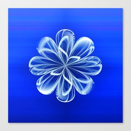 White Bloom on Blue Canvas Print
