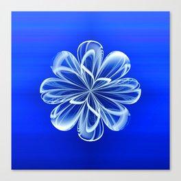 White Bloom on Blue Canvas Print