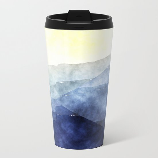 Sun behind the mountains - Modern abstract triangle pattern Metal Travel Mug