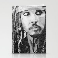 jack sparrow Stationery Cards featuring Jack Sparrow by Christie Rainey