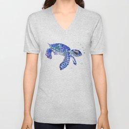 Cute Blue Baby Sea Turtle. children illustration, turtle art Unisex V-Neck