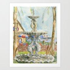 Sea-horse Fountain Art Print