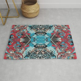 Super Cool Red, Aqua, Black Abstract Painting Rug