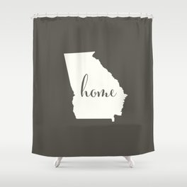Georgia is Home - White on Charcoal Shower Curtain