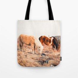 Two Horses Having Dinner Tote Bag