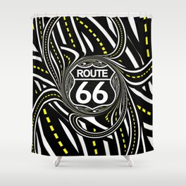 An Infinite Fractal Road on the Legendary Route 66 Shower Curtain