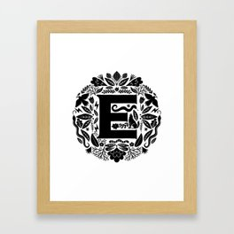 Letter E monogram wildwood Framed Art Print