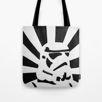 stormtrooper Tote Bags featuring StormTrooper by Shelly Lukas Art