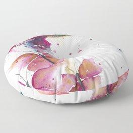 Girl with Purple Butterflies Floor Pillow