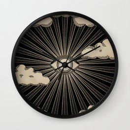 Radiant eye minimal sky with clouds - black and gold Wall Clock