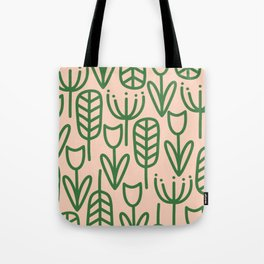 Cheerful Garden Minimalist Pattern in Green and Millennial Pink Tote Bag