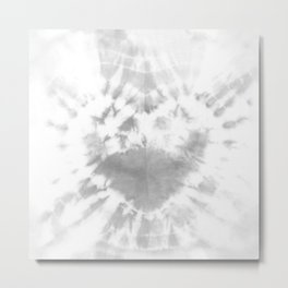 Tie-Dye Gray Heart Metal Print