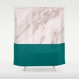 Real Rose Gold Marble and Biscay Bay Shower Curtain