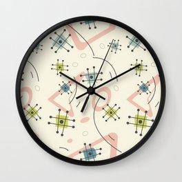 Pastel Mid Century Modern Pattern Wall Clock